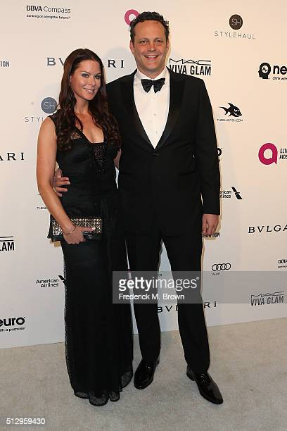 Actor Vince Vaughn and Kyla Weber attend the 24th Annual Elton John AIDS Foundation's Oscar Viewing Party on February 28, 2016 in West Hollywood,...