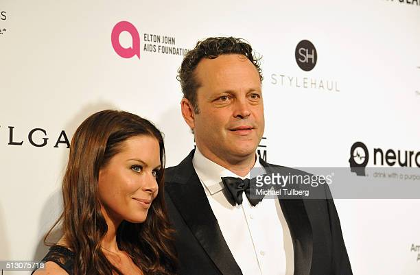 Actor Vince Vaughn and Kyla Weber attend the 24th Annual Elton John AIDS Foundation's Oscar Viewing Party on February 28 2016 in West Hollywood...