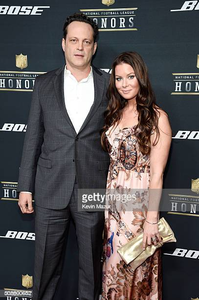 Actor Vince Vaughn and Kyla Weber attend the 5th annual NFL Honors at Bill Graham Civic Auditorium on February 6 2016 in San Francisco California