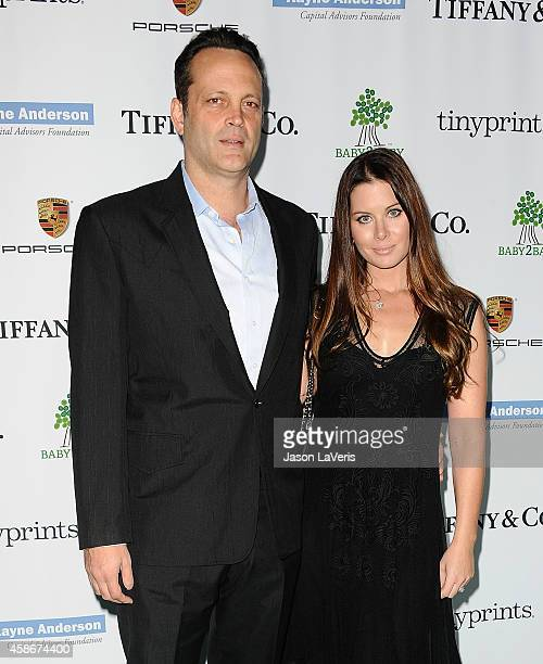Actor Vince Vaughn and wife Kyla Weber attend the 2014 Baby2Baby gala at The Book Bindery on November 8 2014 in Culver City California