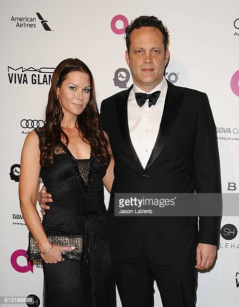 Actor Vince Vaughn and wife Kyla Weber attend the 24th annual Elton John AIDS Foundation's Oscar viewing party on February 28, 2016 in West...