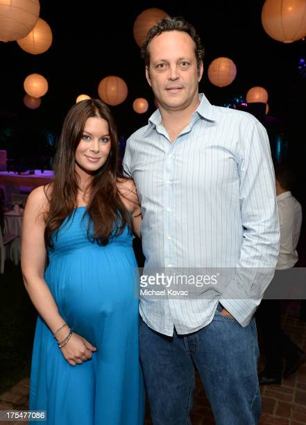 Actor Vince Vaughn and wife Kyla Weber attend the 87th birthday celebration of Tony Bennett and fundraiser for Exploring the Arts the charity...