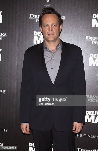 Actor Vince Vaughn attends the DreamWorks Pictures and The Cinema Society screening of Delivery Man at Paley Center For Media on November 17 2013 in...