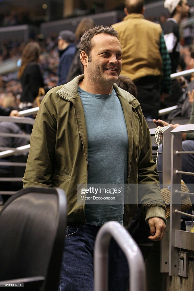 Actor Vince Vaughn attends the NHL game at the Staples Center between the San Jose Sharks and the Los Angeles Kings on March 16, 2013 in Los Angeles, California. The Kings defeated the Sharks 5-2.