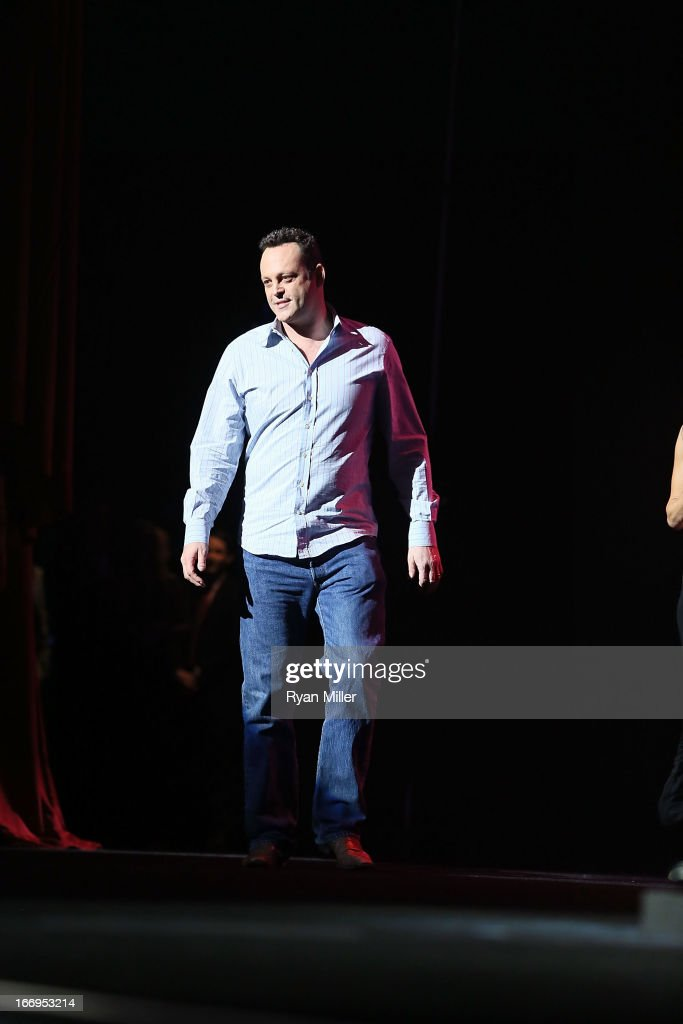 Actor Vince Vaughn, co-recipient of the Comedy Duo of the Year award, speaks onstage at the CinemaCon 2013 Final Night Awards at Caesars Palace during CinemaCon, the official convention of the National Association of Theatre Owners on April 18, 2013 in Las Vegas, Nevada.