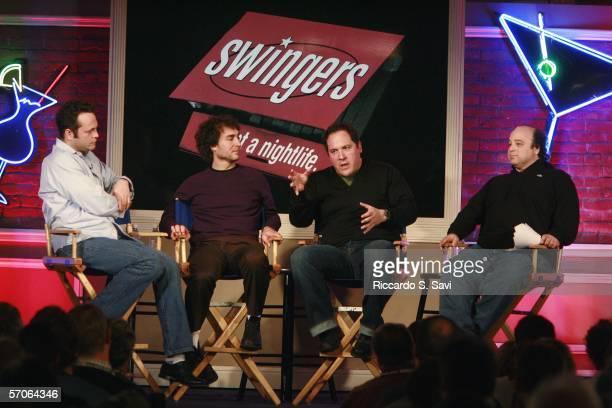 Actor Vince Vaughn director Doug Liman actor/director Jon Favreau and moderator David Wild attend the 10th Anniversary reunion of the cast of...
