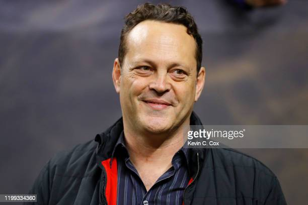 Actor Vince Vaughn looks on prior to the College Football Playoff National Championship game between the Clemson Tigers and the LSU Tigers at...