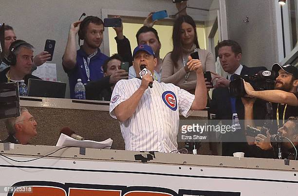 Actor Vince Vaughn sings 'Take Me Out to the Ballgame' in the seventh inning in Game Four of the 2016 World Series between the Chicago Cubs and the...