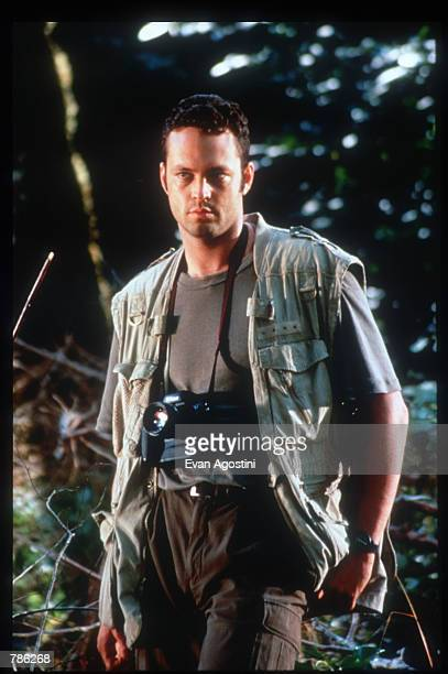 Actor Vince Vaughn stands on the set of the film The Lost World June 15 1996 in USA The Lost World is the sequel to Steven Spielberg's blockbuster...