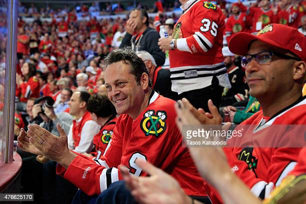 Actor Vince Vaughn watches Game Four of the 2015 NHL Stanley Cup Final between the Chicago Blackhawks and the Tampa Bay Lightning at the United...