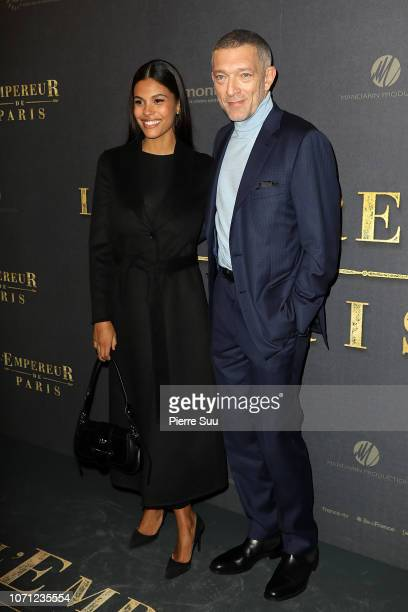 Actor Vincent Cassel and his wife Model Tina Kunakey attend L'Empereur De Paris premiere at Gaumont Opera theater on December 10 2018 in Paris...
