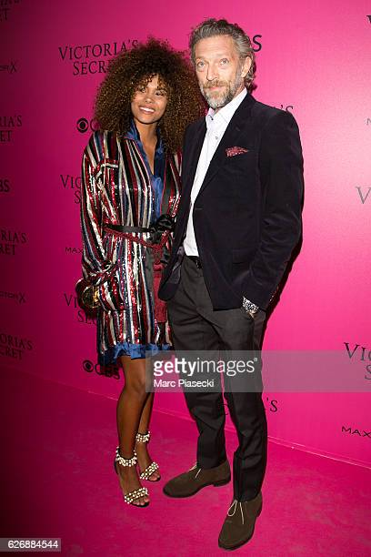 Actor Vincent Cassel and Tina Kunakey attend '2016 Victoria's Secret Fashion Show' Pink carpet photocall at Le Grand Palais on November 30 2016 in...