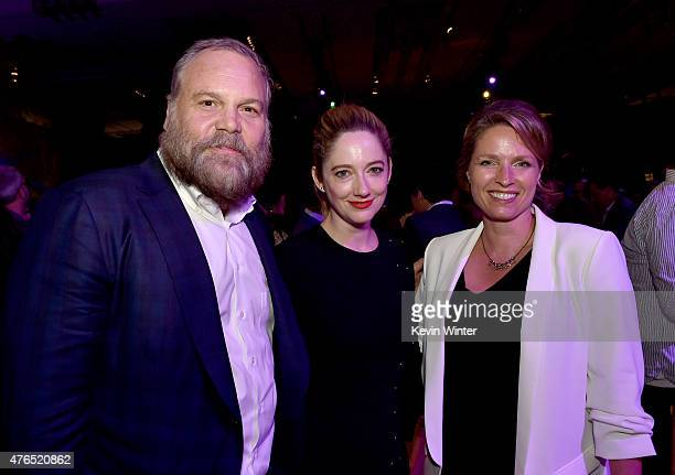 Actor Vincent D'Onofrio actress Judy Greer and Vincents wife Carin van der Donk pose at the after party for the premiere of Universal Pictures'...