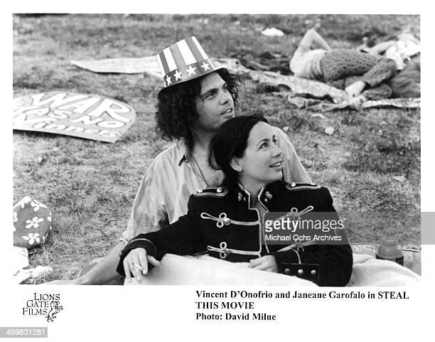 Actor Vincent D'Onofrio and actress Janeane Garofalo on set of the movie Steal This Movie circa 2000