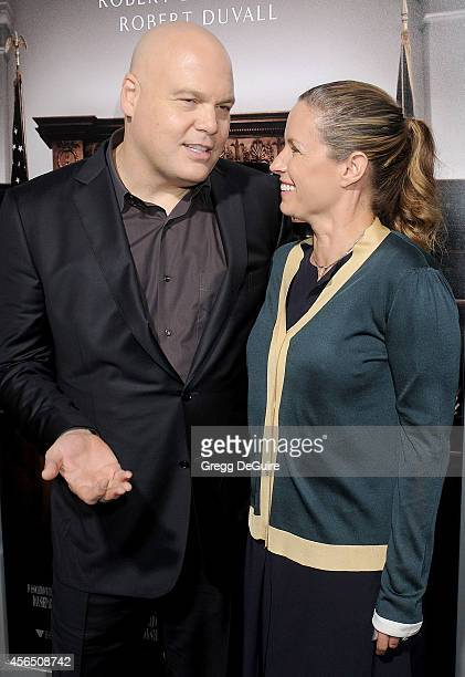 Actor Vincent D'Onofrio and Carin van der Donk arrive at the Los Angeles premiere of The Judge at AMPAS Samuel Goldwyn Theater on October 1 2014 in...