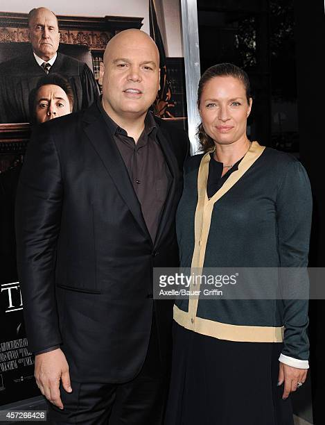 Actor Vincent D'Onofrio and Carin van der Donk arrive at the Los Angeles Premiere of 'The Judge' at AMPAS Samuel Goldwyn Theater on October 1 2014 in...