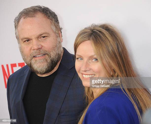 Actor Vincent D'Onofrio and Carin van der Donk arrive at the premiere Of Netflix's Marvel's Daredevil at Regal Cinemas LA Live on April 2 2015 in Los...