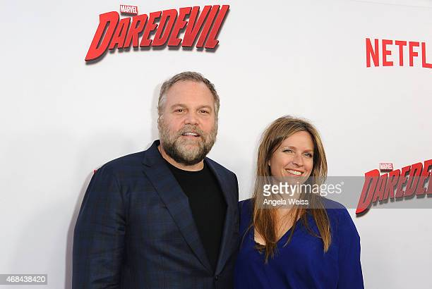 Actor Vincent D'Onofrio and Carin van der Donk attend the Premiere of Netflix's Marvel's Daredevil at Regal Cinemas LA Live on April 2 2015 in Los...