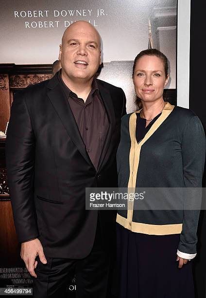 Actor Vincent D'Onofrio and wife Carin Van Der Donk arrive for the Warner Bros Pictures and Village Roadshow Pictures' Premiere of the Judge at AMPAS...