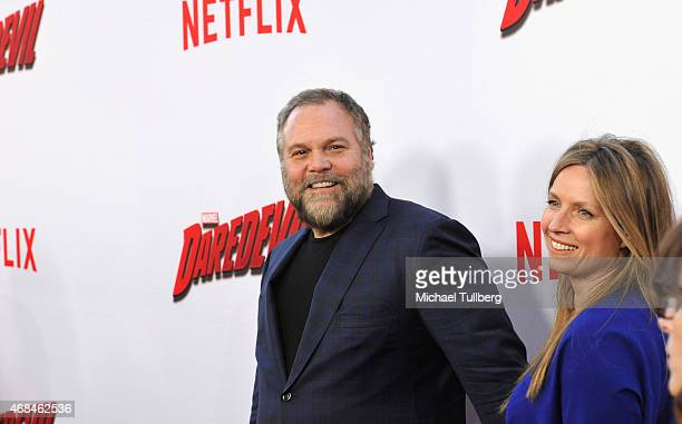 Actor Vincent D'Onofrio and wife Carin van der Donk attend the premiere of Netflix's Marvel's Daredevil at Regal Cinemas LA Live on April 2 2015 in...