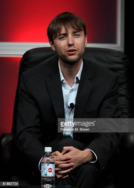 Actor Vincent Kartheiser of Mad Men speaks during day two of the AMC Channel 2008 Summer Television Critics Association Press Tour held at the...