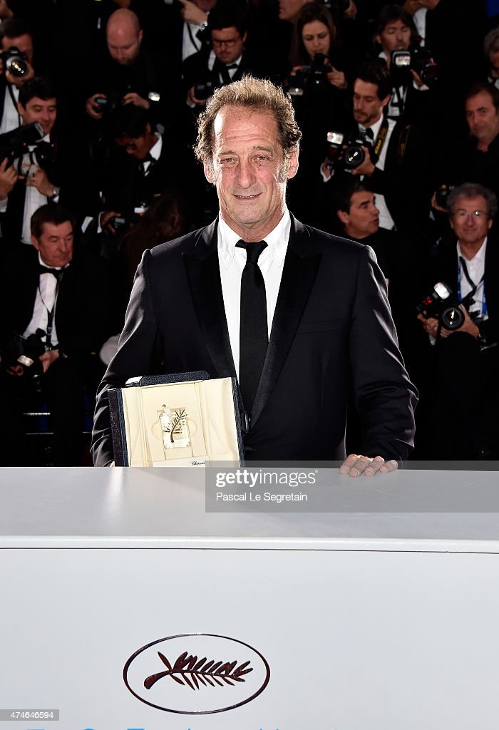 Actor Vincent Lindon, winner of the Best Actor Prize for his role in the film ' La Loi du Marche' (The Measure of a Man) poses at the photocall for the winners of the Palm D'Or during the 68th annual Cannes Film Festival on May 24, 2015 in Cannes, France.