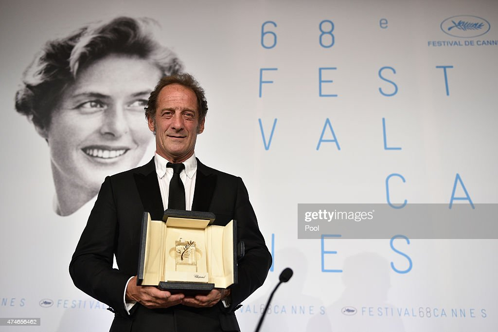 Actor Vincent Lindon, winner of the Best Actor Prize for his role in the film ' La Loi du Marche' (The Measure of a Man) attends the Palm D'Or Winners press conference during the 68th annual Cannes Film Festival on May 24, 2015 in Cannes, France.