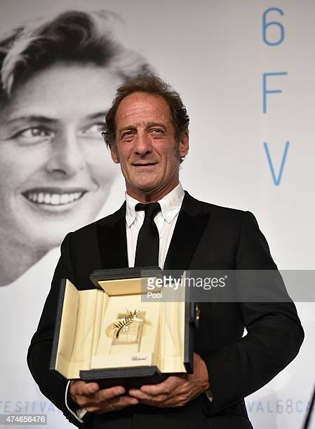Actor Vincent Lindon, winner of the Best Actor Prize for his role in the film ' La Loi du Marche' attends the Palm D'Or Winners press conference...