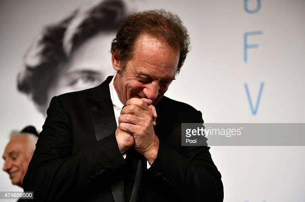 Actor Vincent Lindon winner of the Best Actor Prize for his role in the film ' La Loi du Marche' attends the Palm D'Or Winners press conference...