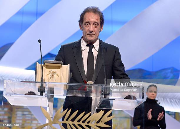 Actor Vincent Lindon with his Best Actor award for 'La Loi du Marche' speaks on stage during the closing ceremony during the 68th annual Cannes Film...