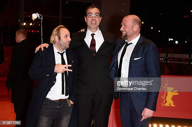 Actor Vincent Macaigne director Dominik Moll and actor Francois Damiens attend the 'News from Planet Mars' premiere during the 66th Berlinale...