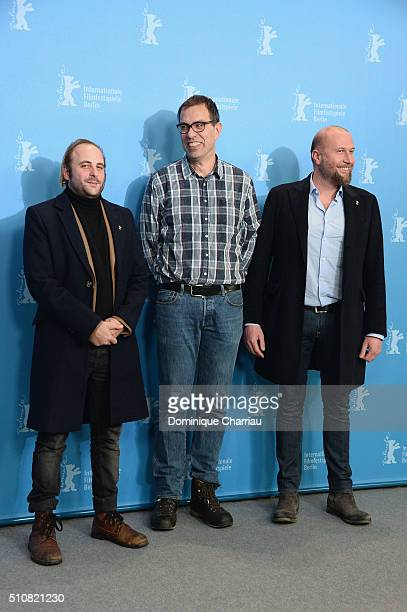 Actor Vincent Macaignedirector Dominik Moll and actor Francois Damiens attend the 'News from Planet Mars' photo call during the 66th Berlinale...