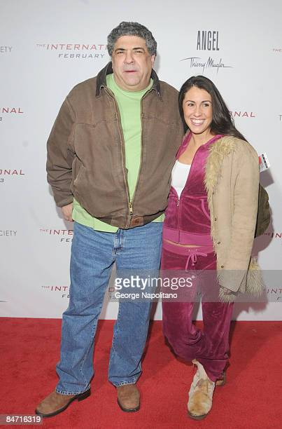 Actor Vincent Pastore and guest attend the Cinema Society and Angel by Thierry Mugler screening of 'The International' at AMC Lincoln Square on...