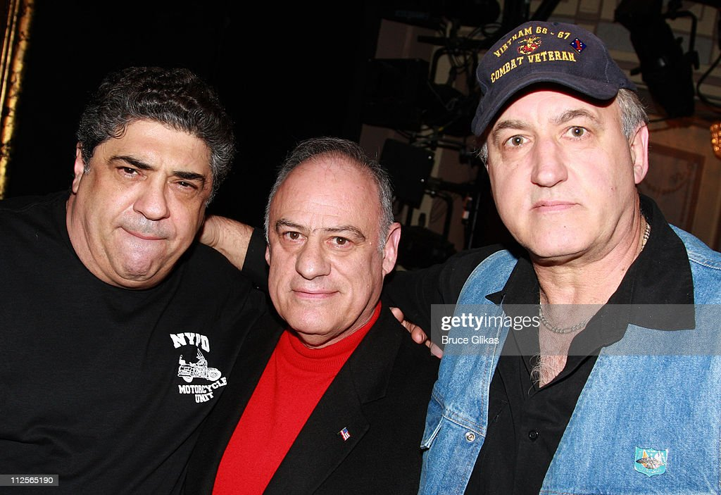 Actor Vincent Pastore (left) with members of The Bronx Veterans Hospital as they visit backstage at 'Chicago' on Broadway at The Ambassador Theater on January 6, 2008 in New York City.