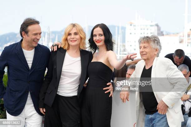 Actor Vincent Perez actress Emmanuelle Seigner actress Eva Green and director Roman Polanski attend the 'Based On A True Story' photocall during the...