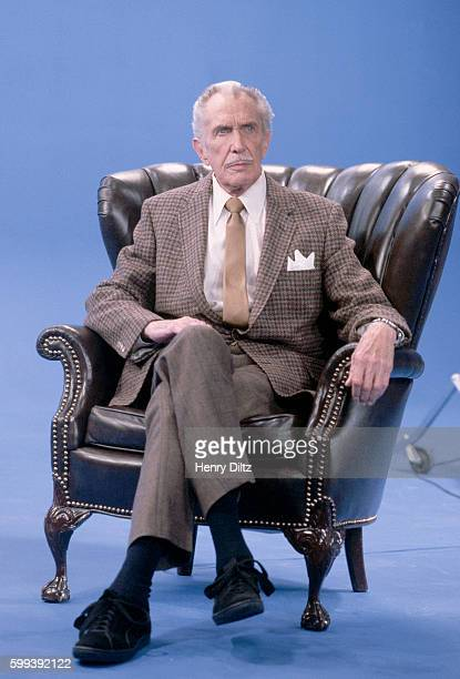 Actor Vincent Price sits as he does while hosting PBS's Mystery Theater Price was known for his acting roles in the mystery and horror genre