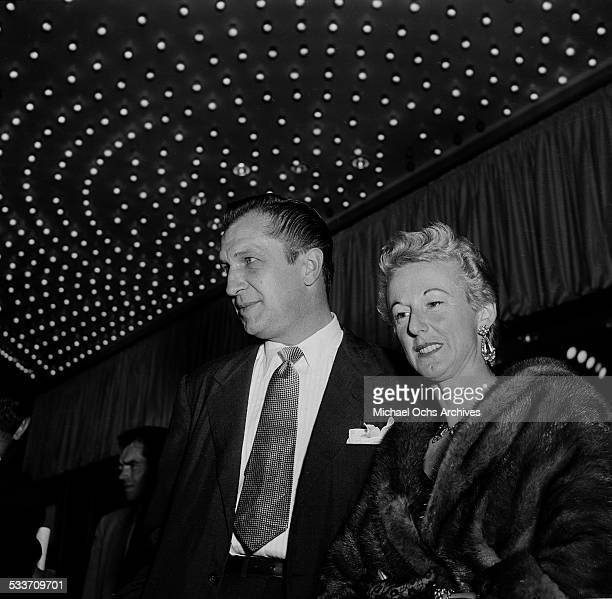 Actor Vincent Price with his wife costume designer Mary Grant Price attend the premiere of Little Boy Lost in Los AngelesCA
