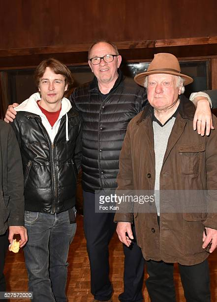 Actor Vincent Rottiers producer Alain Depardieu and actor Philippe Nahon attend La Dormeuse Duval Screening Party hosted by Quizas at Studio Davout...