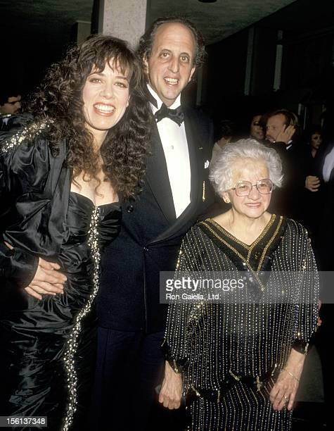 Actor Vincent Schiavelli his mother and Actress Allyce Beasley attend the 45th Annual Golden Globe Awards on January 23 1988 at Beverly Hilton Hotel...