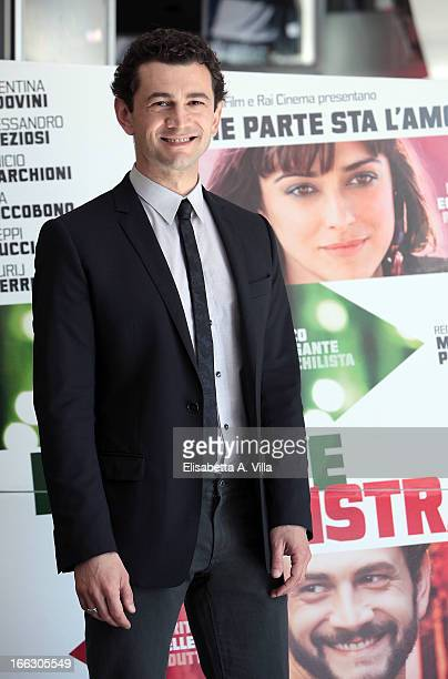 Actor Vinicio Marchioni attends 'Passione Sinistra' photocall at Cinema Adriano on April 11 2013 in Rome Italy