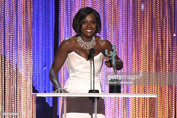 Actor Viola Davis accepts the award for Best Female Actor in a Supporting Role for 'Fences,' onstage during the 23rd Annual Screen Actors Guild...
