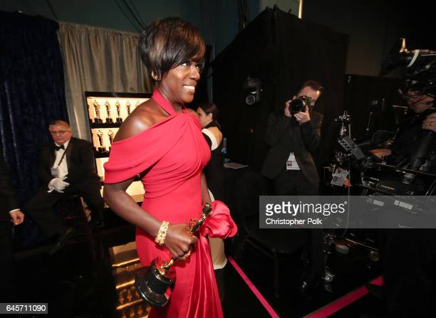 Actor Viola Davis winner of Best Supporting Actress for 'Fences' poses backstage during the 89th Annual Academy Awards at Hollywood Highland Center...
