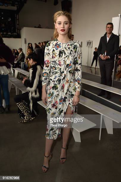 Actor Virginia Gardner attends the Jason Wu front row during New York Fashion Week The Shows at Gallery I at Spring Studios on February 9 2018 in New...