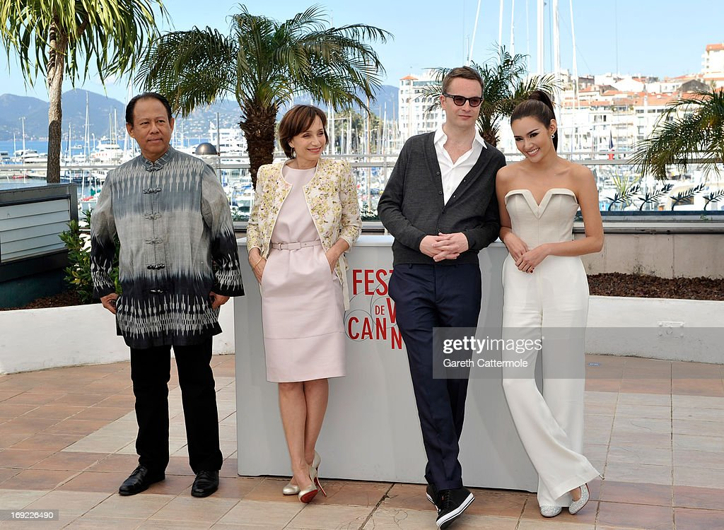 Actor Vithaya Pansringarm, actress Kristin Scott Thomas, director Nicolas Winding Refn and actress Rhatha Phongam attend the 'Only God Forgives' Photocall during the 66th Annual Cannes Film Festival on May 22, 2013 in Cannes, France.
