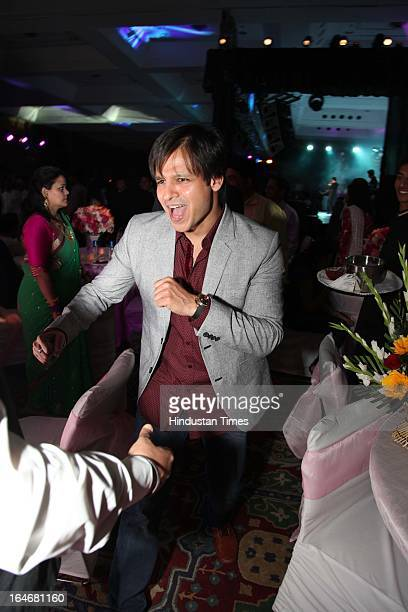 Actor Vivek Oberoi during Annaprashan ceremony of Subrata Roy's granddaughter Roshna on March 20 2013 in New Delhi India