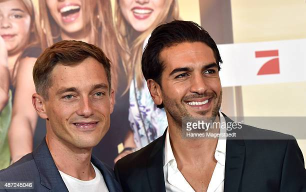 Actor Volker Bruch and Elyas M'Barek attend the 'Fack ju Goehte 2' Munich Premiere at Mathaeser Filmpalast on September 7 2015 in Munich Germany