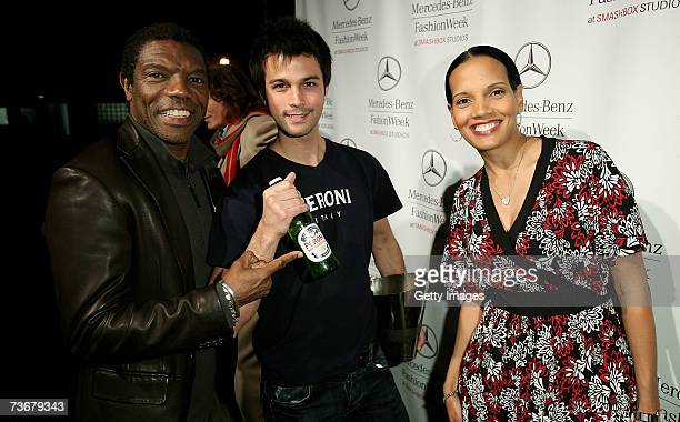 Actor Vondie CurtisHall and actress Shari Headley pose with Peroni during Mercedes Benz Fashion Week held at Smashbox Studios on March 22 2007 in...