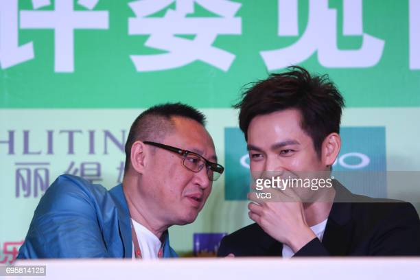 Actor Wallace Chung attends the jury press conference of the 23rd Shanghai TV Festival at Jiaomao Tower on June 14 2017 in Shanghai China