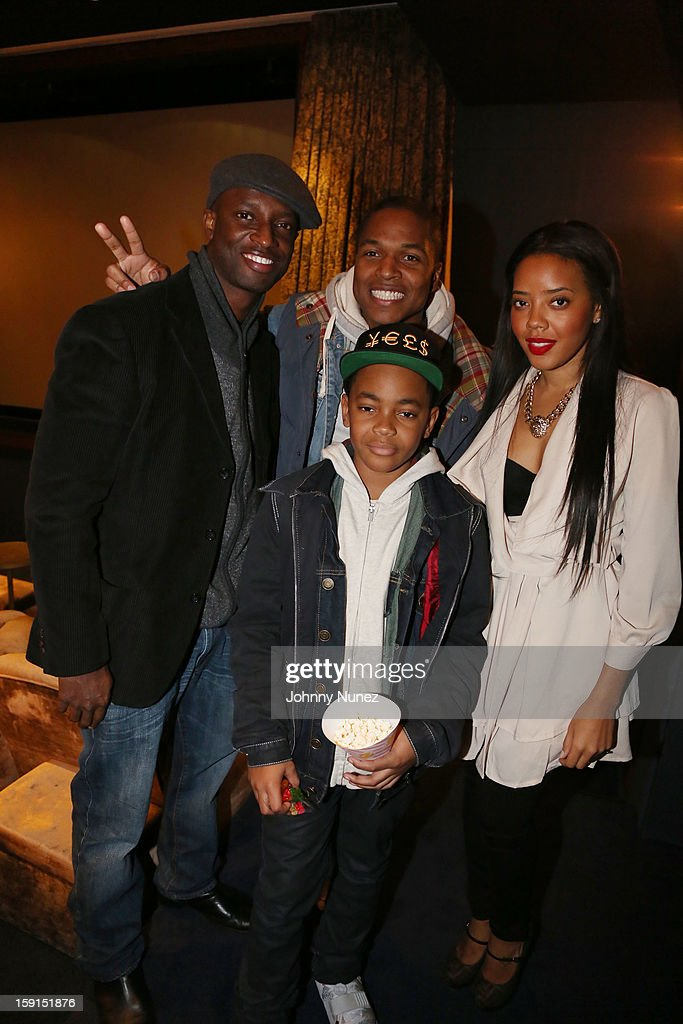 Actor Walter Simpson III, director Sheldon Candis, Angela Simmons and actor Michael Rainey Jr. (front) attend the 'LUV' Tastemaker Screening at Soho House on January 8, 2013 in New York City.