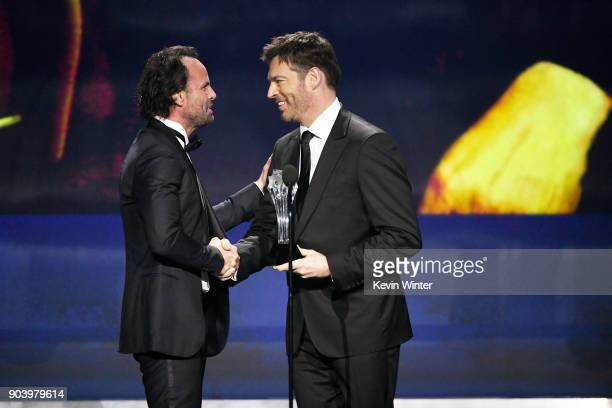 Actor Walton Goggins accepts Best Supporting Actor in a Comedy Series for 'Vice Principals' from singer/actor Harry Connick Jr onstage during The...
